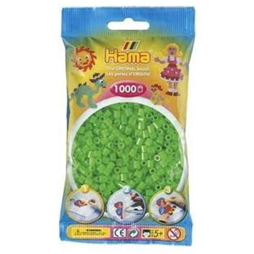 Hamma Beads Cuentas Hamma Hamma Didacticos Paquete 1000 Piezas Color Verde Fluorecente Tamaño Mediano