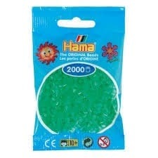Hamma Beads Cuentas Hamma Hamma Didacticos Paquete 2000 Piezas Color Verde Neon Tamaño Mini