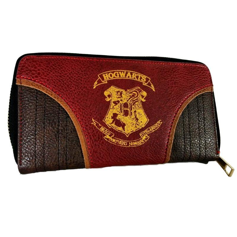 Billetera Larga Escudo de Hogwarts PT Harry Potter Fantasia En Cuerina Vinotinto