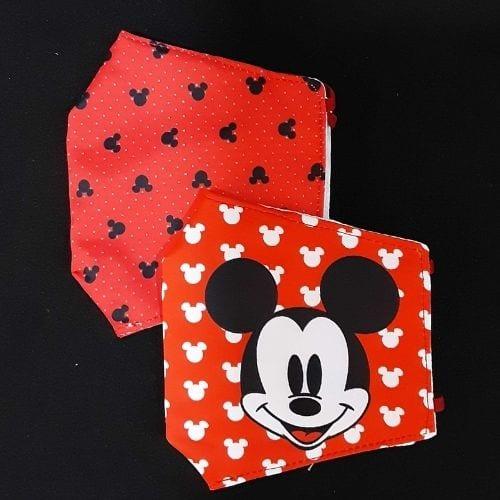 Tapabocas Mickey Toogeek Mickey Mouse Disney Set x2 Diseño Patron Negro Fondo Rojo y Patron Fondo Rojo Rostro mickey