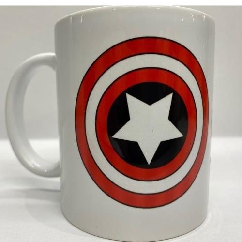 Mug en Cerámica Capitán américa PT Capitán américa Marvel Blanco Logo Escudo Capitan marvel