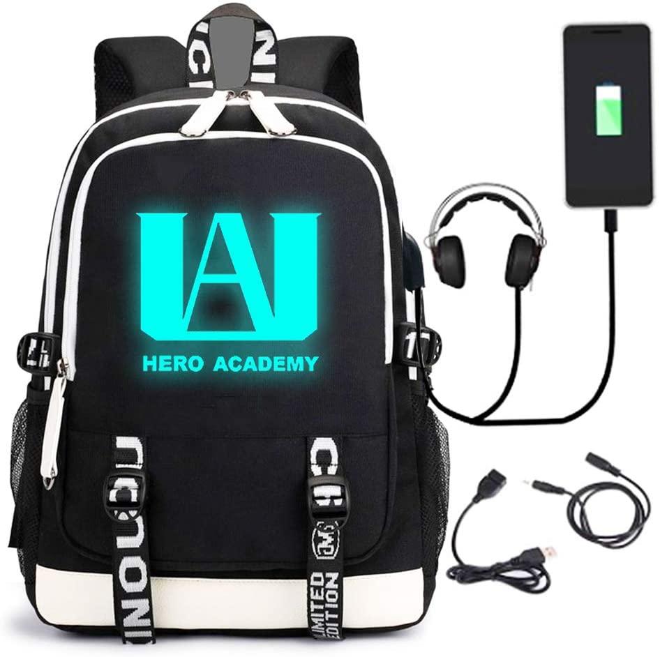 y Hero Luminoso Mochila Academia Cosplay con puerto de carga USB Bookbag Daypack (Entrega de 4 a 5 semanas una vez realizado el pago)