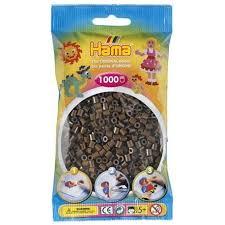 Geek - Cuentas Hama Beads Tamaño Mediano Paquete 1000 Piezas Color Cafe Oscuro