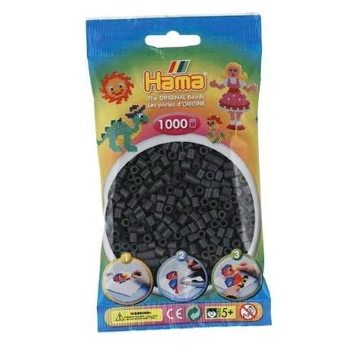 Geek - Cuentas Hama Beads Tamaño Mediano Paquete 1000 Piezas Color Gris Oscuro