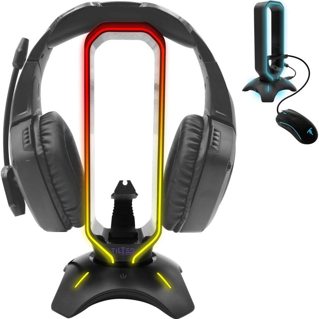 Soporte para auriculares inclinado de Nation RGB y soporte de auriculares Gamer