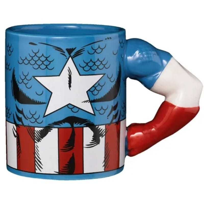 Mug Capitan America Avengers Marvel Brazo 3d