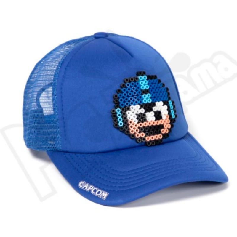 Gorra Malla Mega Man Hama Beads Pictograma Videojuegos Azul