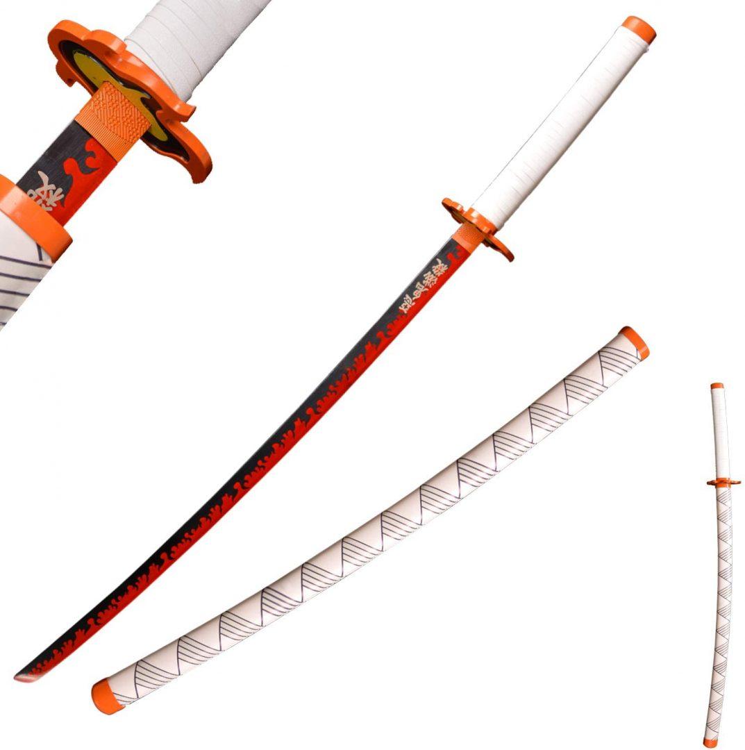 Katana hecha a mano de espada en Acero Demon Slayer Rengoku Kimetsu No Yaiba