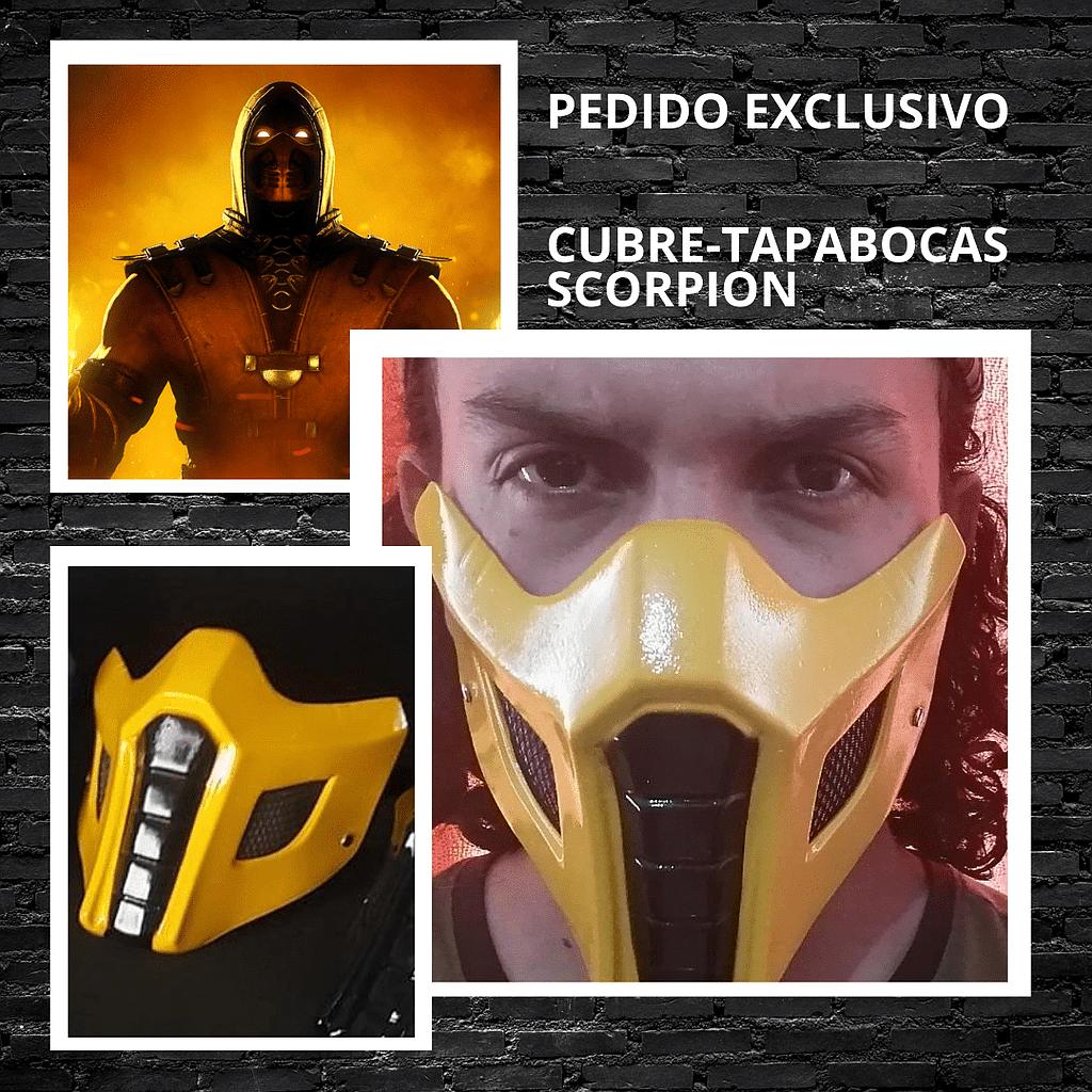 Cubre Tapabocas Scorpio CStudio Mortal Kombat Polietileno Calibre 60 Termoformado Amarillo