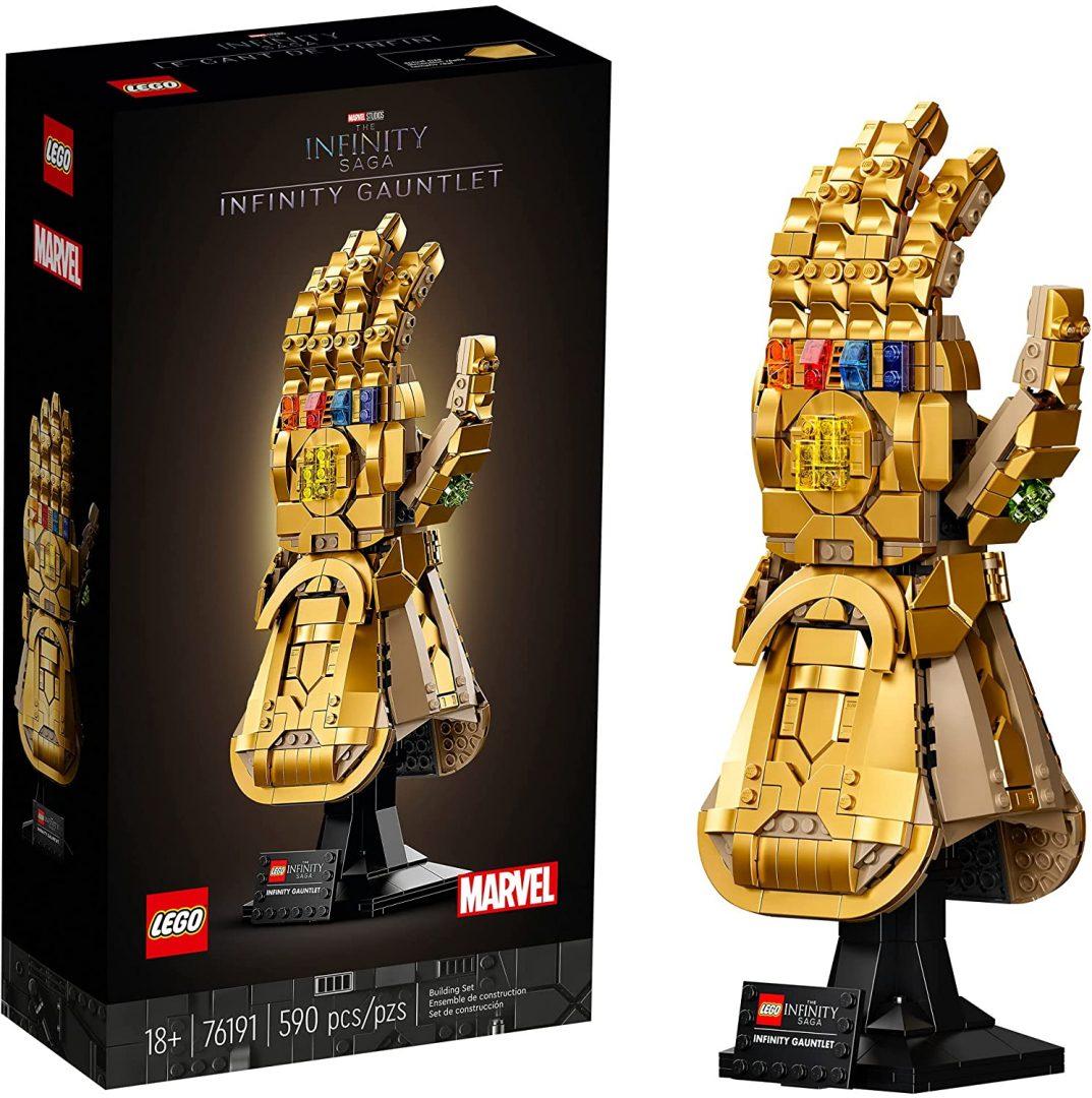 LEGO Marvel 76191 Kit de construcción coleccionable modelo de guantelete de mano derecha Thanos con piedras infinitas (590 piezas)