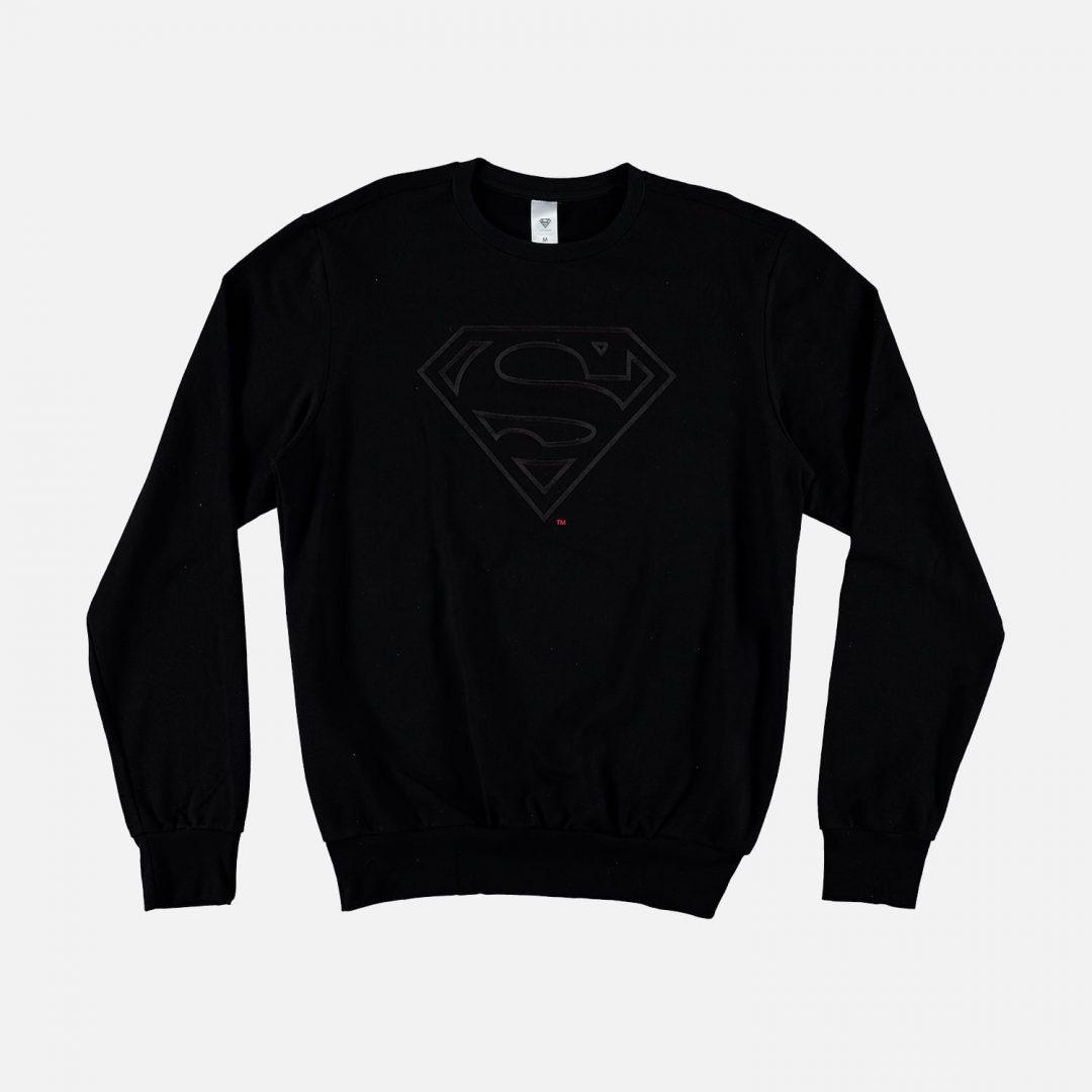 BUZO Superman Mic Movies Dc Comics Hombre Color Negro Con Logo Relieve Talla L