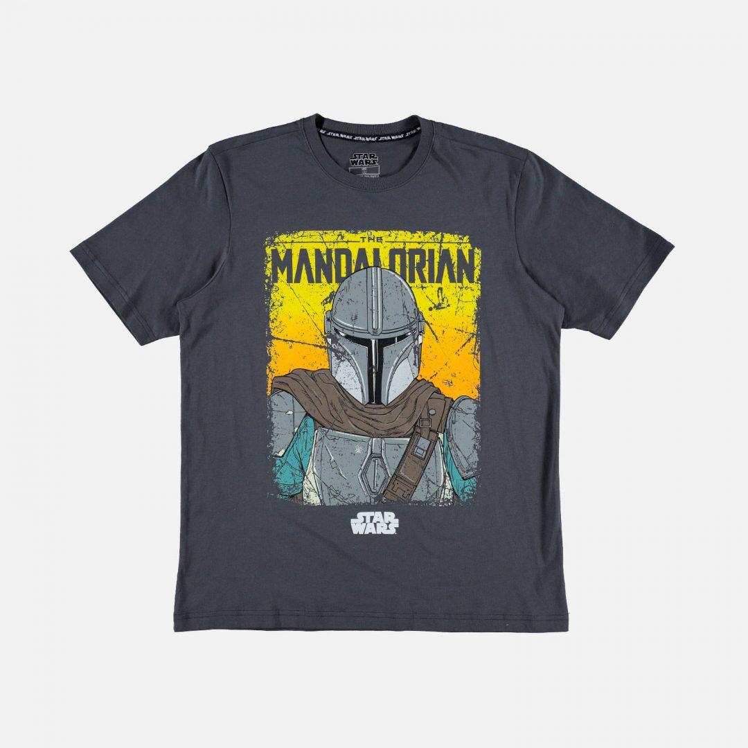 CAMISETA The Mandalorian Mic Movies Star Wars Hombre Color Gris Con Mando Talla S