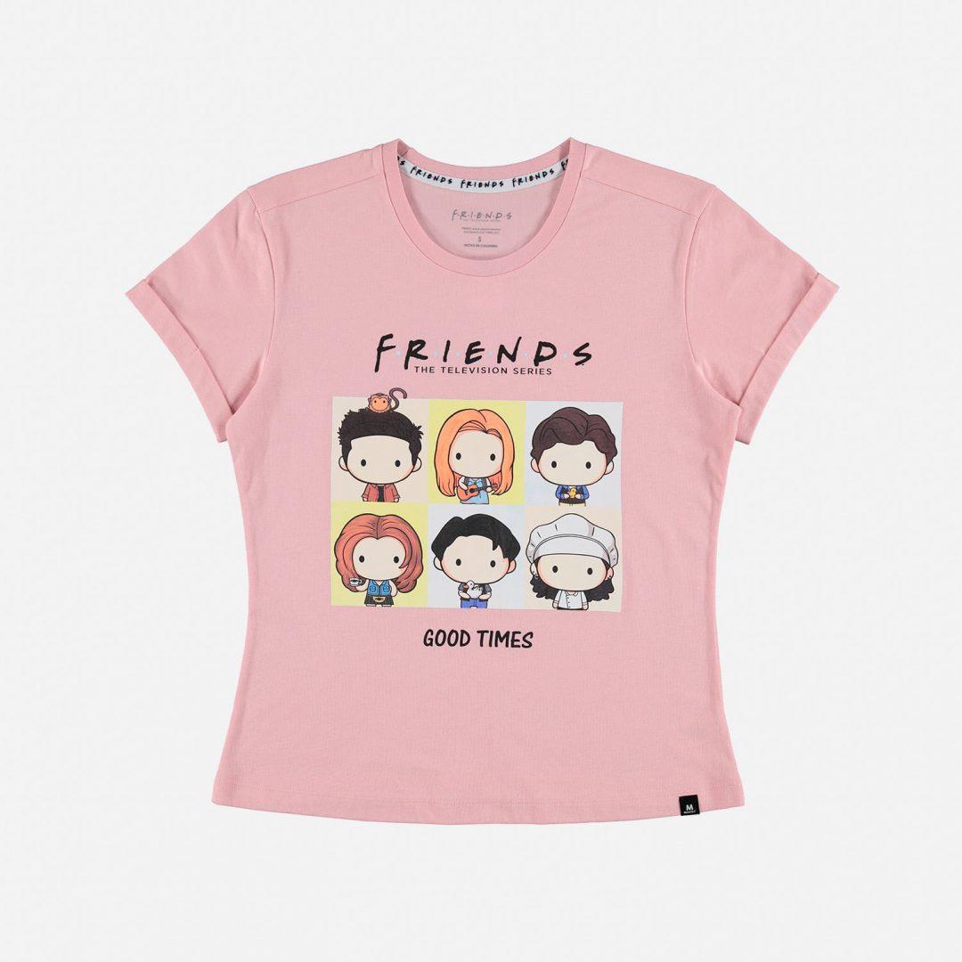 CAMISETA Friends Mic Movies Series Mujer Color Rosa Con Personajes Varicolor Talla M