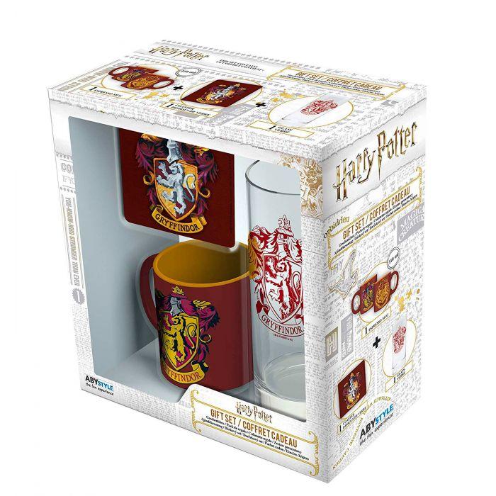 Set de Regalo Gryffindor AbyStyle Harry Potter Fantasía Set de Regalo X 1 Vaso, 1 Mug y 1 Portavasos