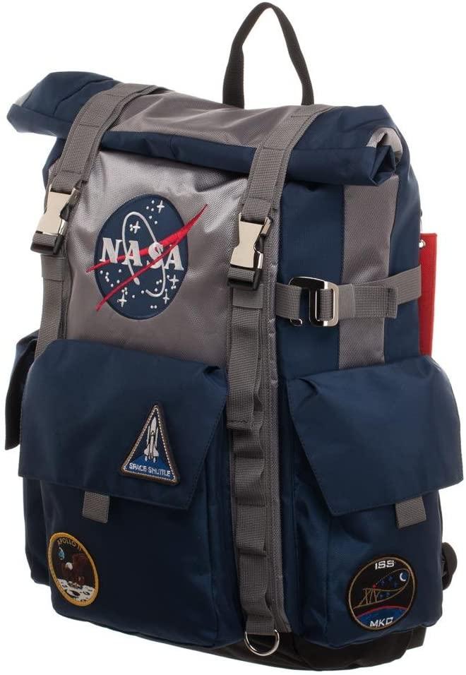 Mochila Roll-Top de la NASA - Mochila azul y gris
