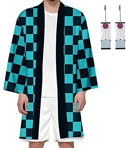 Cosplay Tanjiro Kamado Anime Kimono Kimetsu No Yaiba Anime Camisa y Aretes